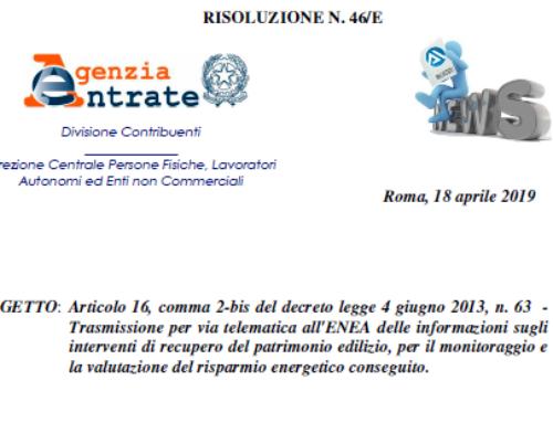 Mancato invio comunicazione ENEA 2018 – Che fare? Risoluzione N.46/E