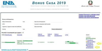Modifica e annullamento pratica ENEA inviata bonus casa 2019
